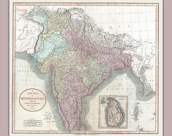 India or Hindoostan; Antique Map by Cary 1806