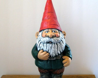 Ceramic Garden Gnome - 14 inches, hand painted lawn or garden gnome, outdoor or indoor