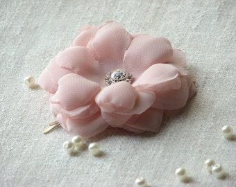 Blush hair flower Bridal hair flower Silk hair flower Blush silk flower 2 inch hair flower Blush silk hair flower Rhinestones hair clips