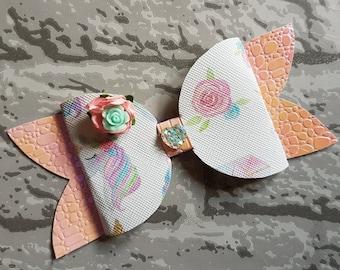 Unicorn & rose shimmer glitter bow.
