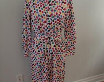 1970's Polka Dot Shirt Dress