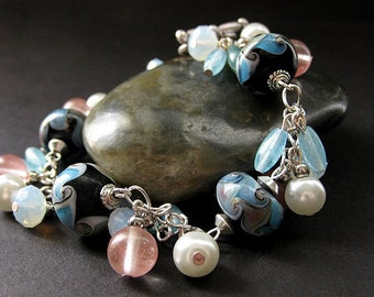 Lampwork Charm Bracelet in Baby Blue, Pink Cherry Quartz and Pearl. Handmade Jewelry.