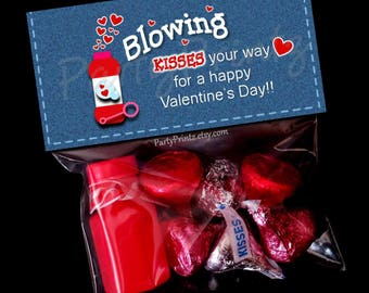 INSTANT DOWNLOAD - Printable Treat Bag Toppers  -Demin Blowing Kisses for Valentine's Day