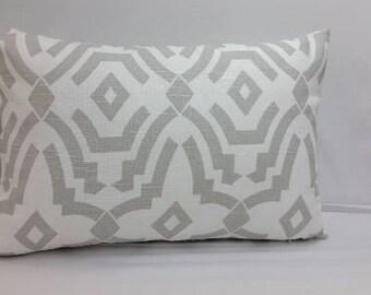 "Chevelle trellis, geometric,  toss pillow, 18 x 12""  grey and white, RTS"