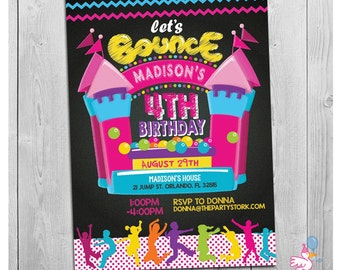 Bounce House Invitation, Bounce House Birthday Invitations, Bounce House Party, Girls Printable Bounce House Invitation