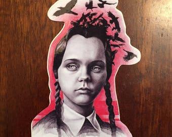 "Wednesday Addams sticker 2.75""x4"""