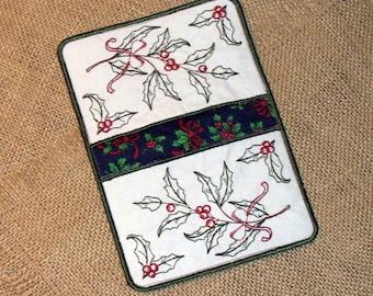 Christmas Potholder /Christmas Holly Potholder / Holly Potholder / Embroidered Potholder, Embroidered holly potholder