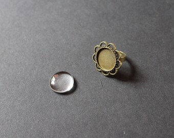 Ring support kit 1 / 18 mm glass cabochon / flower
