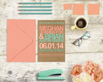 Kraft Wedding Invitations / Coral Peach & Mint Green Weddings / Retro Style / Modern Weddings / PRINTED 6x9 Wedding Cards w/ Enclosure Cards