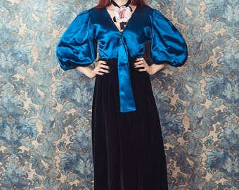 Balloon sleeves dress, velvet and satin, 1980s size small