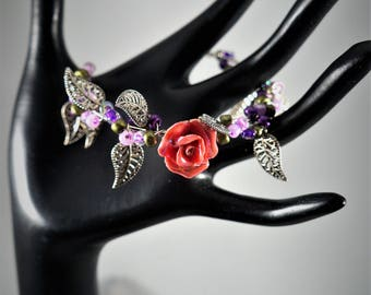 Rose and Silver Wire Wrapped Bracelet