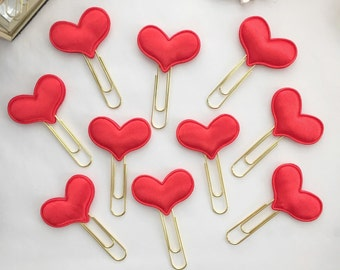 Valentine's Day Satin Heart Paper Clips for Your Erin Condren Filofax Kikki K Planner Bookmark