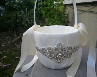 SALE - Wedding Flower Basket, Flower Girl Basket, Rhinestone Flower Basket  - Style BK1012