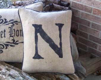 Hand stenciled  initial   burlap pillow