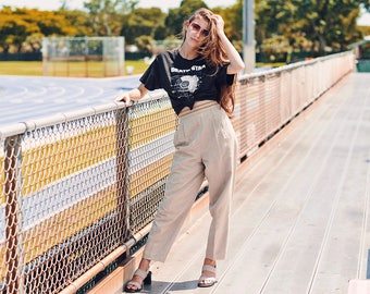 80s Tan Gold Shimmer Pants Vintage Beige Petite High Waisted Trousers