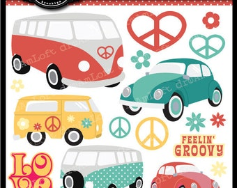 Love Bus Digital Clip Art Set for party themes, invitations, stationary and more