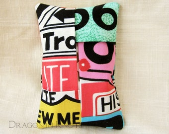 Route 66 Travel Tissue Holder - Mother Road Facial Tissue Case, modern cross country street signs road trip to go tissue cover for handbag