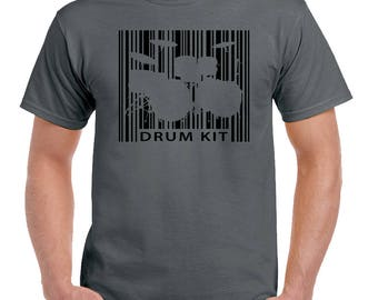 Drum Kit Barcode Mens Funny Drumming T-Shirt Drums Drummer Sticks Kit Snare 2185