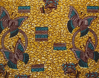 Ankara Fabric, Teal and Mustard African Fabric, Butterfly Print,  6 Yards, African fabric shop, Made in Ghana, Wax Print