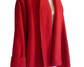 Red wool jacket  Balla Valentina Wrap Asymmetrical hem Shawl Front Swing  1980s Free size