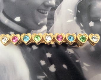 Stunning Rhinestone studded heart brooch