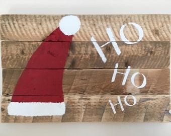 Christmas wall hanging, santa, reclaimed wood, rustic, holiday