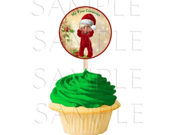 My First Christmas 3 Inch Round Cupcake Toppers, Printable 2 inch Cupcake Toppers,Buttons,Favor Tags,Digital Download,DIY Printable