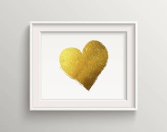 Gold Heart, art print for home decorations, gold glitter heart, fashion art print, gold foil heart, vanity decor, gold foil print, sparkle