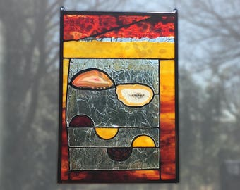 Arizona Sunrise Stained Glass Panel Red Yellow Abstract Stained Glass Panel Handmade