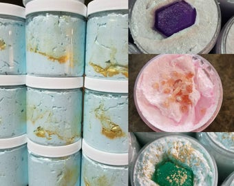 48, 96 Whipped Emulsified Sugar Scrubs 8oz Jars Favors or Wholesale