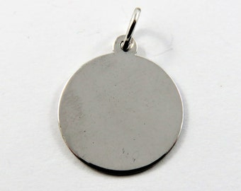 Blank Round Charm to be Personally Engraved Sterling Silver Charm of Pendant.