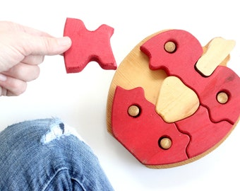 Chunky Wooden Apple Puzzle, Vintage Children's Toy, Teacher's Gift