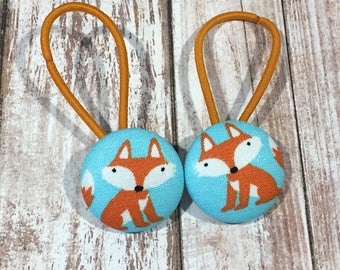 "1 1/8"" Size 45 Orange/White/Blue Fox Fabric Covered Button Hair Tie / Ponytail Holder / Party Favor (Set of 2)"
