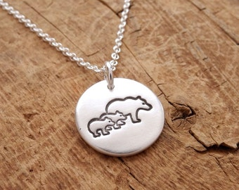 Small Mother and Twin Bear Cub Necklace, Mom and Two Kids, New Mom Jewelry, Twin Jewelry, Fine Silver, Sterling Silver Chain, Made To Order