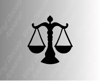 Law scales of justice die cut vinyl decal sticker for laptops, tablets, tumblers, and more