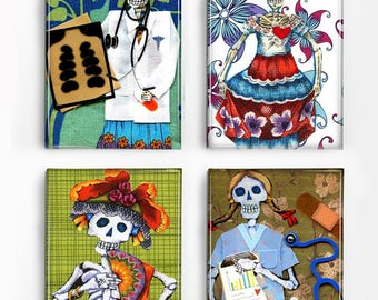 Set of 4 Magnets Day of the Dead Skeletons