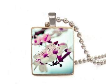 Cherry Blossoms Necklace | Flower Necklace | Cherry Blossom Pendant | Flower Photo Necklace | Art Necklace | Nature Jewelry | Wood Game Tile