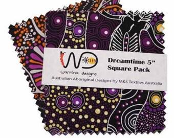 Australian Fabric, Aboriginal Fabric - Assorted purple Prints - 23255928 - 5-Inch Squares (42 per pack)