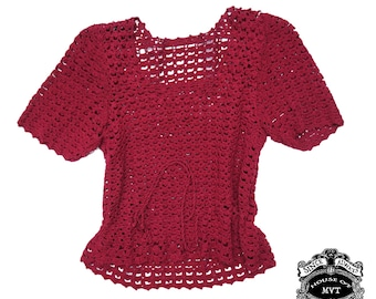 wine Burgundy knit adjustable draw string vintage short sleeve sweater