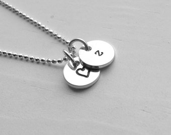 Initial Necklace, Letter z Necklace, Tiny Heart Necklace, Personalized Jewelry, Sterling Silver Jewelry, All Letters, Initial Charm Necklace