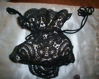 SALE Antique black lace purse hand done 1800s perfect condition