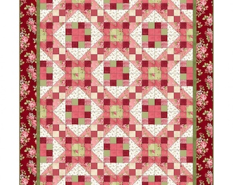 Maywood Studios - Welcome Home Flannel Quilt Kit / Rose, Burgundy, Cream, Green Floral Irish Chain, Log Cabin Pattern