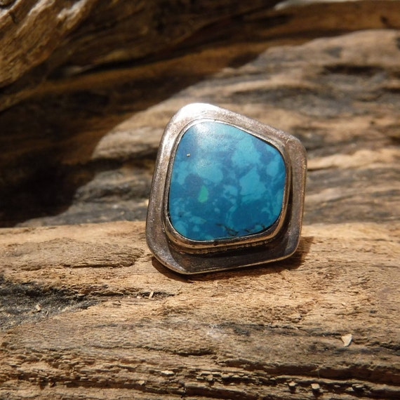 Large Sterling Mexico 925 Ring Signed Heavy 11.8 Grams Size 6 Unisex large Vintage Turquoise Inlay Ring Jewelry Mens Ring Large Silver Ring