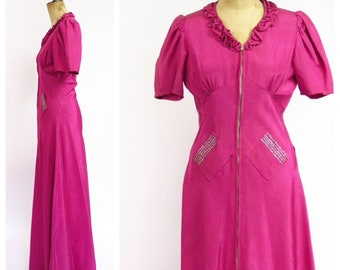 1930s Dress With Pockets And Rhinestones