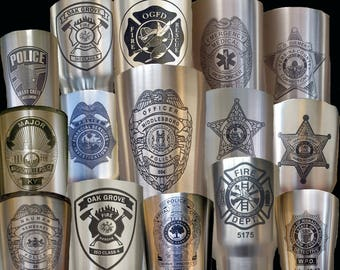 Stainless steel tumbler, laser engraved, personalized (names, logos, police badges, etc.)