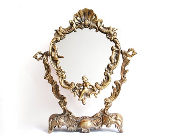 Reserved Aurélie thank you to do no buy mirror Psyche baroque bronze years 30 - swivel table mirror mirror - back to restore 29x34cm