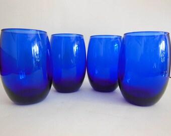 "Beautiful Cobalt Blue Wine glasses Blue Glass Tumblers Set of 4 holds 16 oz. 4 3/4"" Tall"