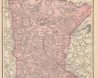 1928 Minnesota & Michigan Antique Map