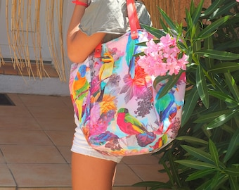 Colorful exotic fabric tote bag.
