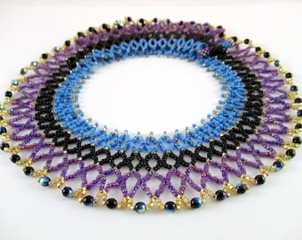 Purple Egyptian Inspired Beaded Collar Necklace
